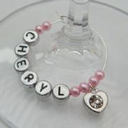 Small Clear Sparkle Heart Personalised Wine Glass Charm